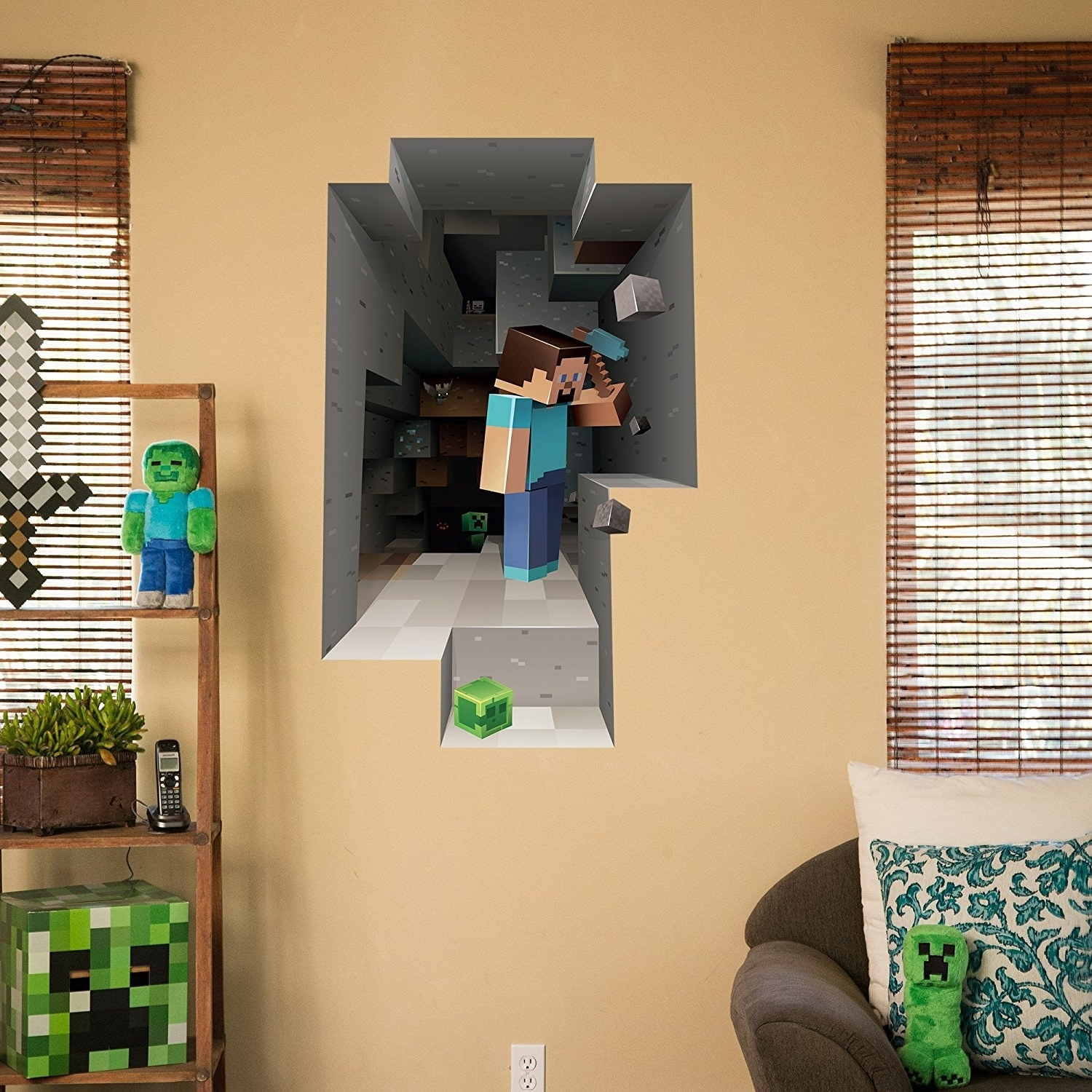 Minecraft 3D Wall Art Regarding Famous Amazon: Minecraft Digging Steve Wall Cling Decal: Home & Kitchen (View 5 of 15)