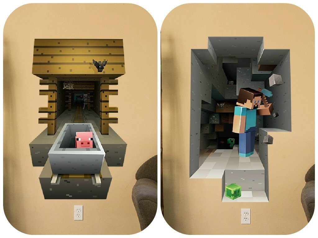 Minecraft 3D Wall Art Regarding Famous Minecraft Vinyl Wall Graphics Mining 2 Pack: Amazon.co (View 6 of 15)