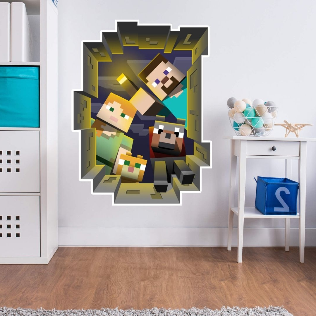 Minecraft Wall Art Uk In Most Current Wall Stickers 3d Wall Stickers Shop – Wall Art (View 3 of 15)