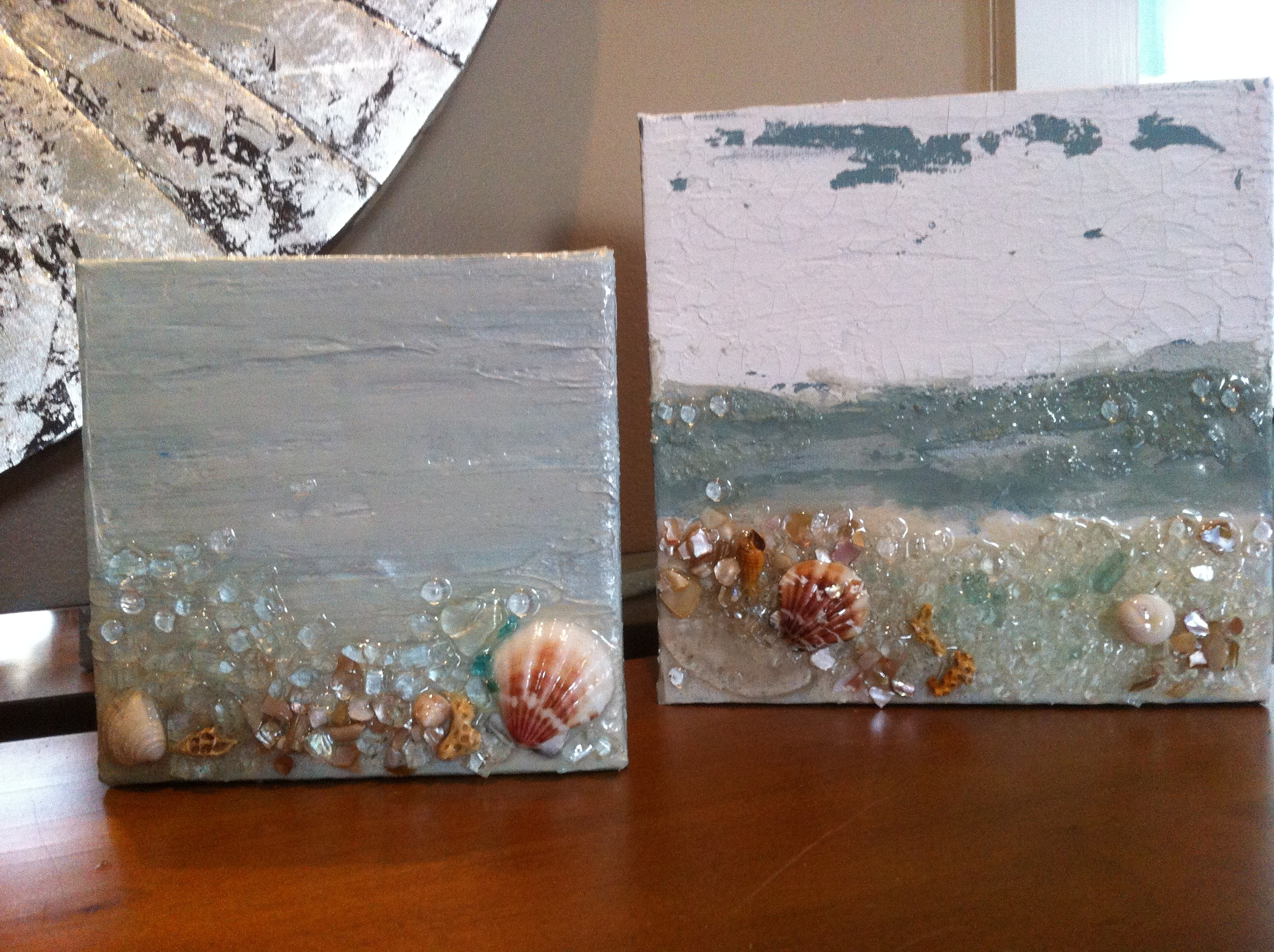 Mini Painted Canvas W/beach Sand, Shells And Crushed Glass (View 6 of 15)