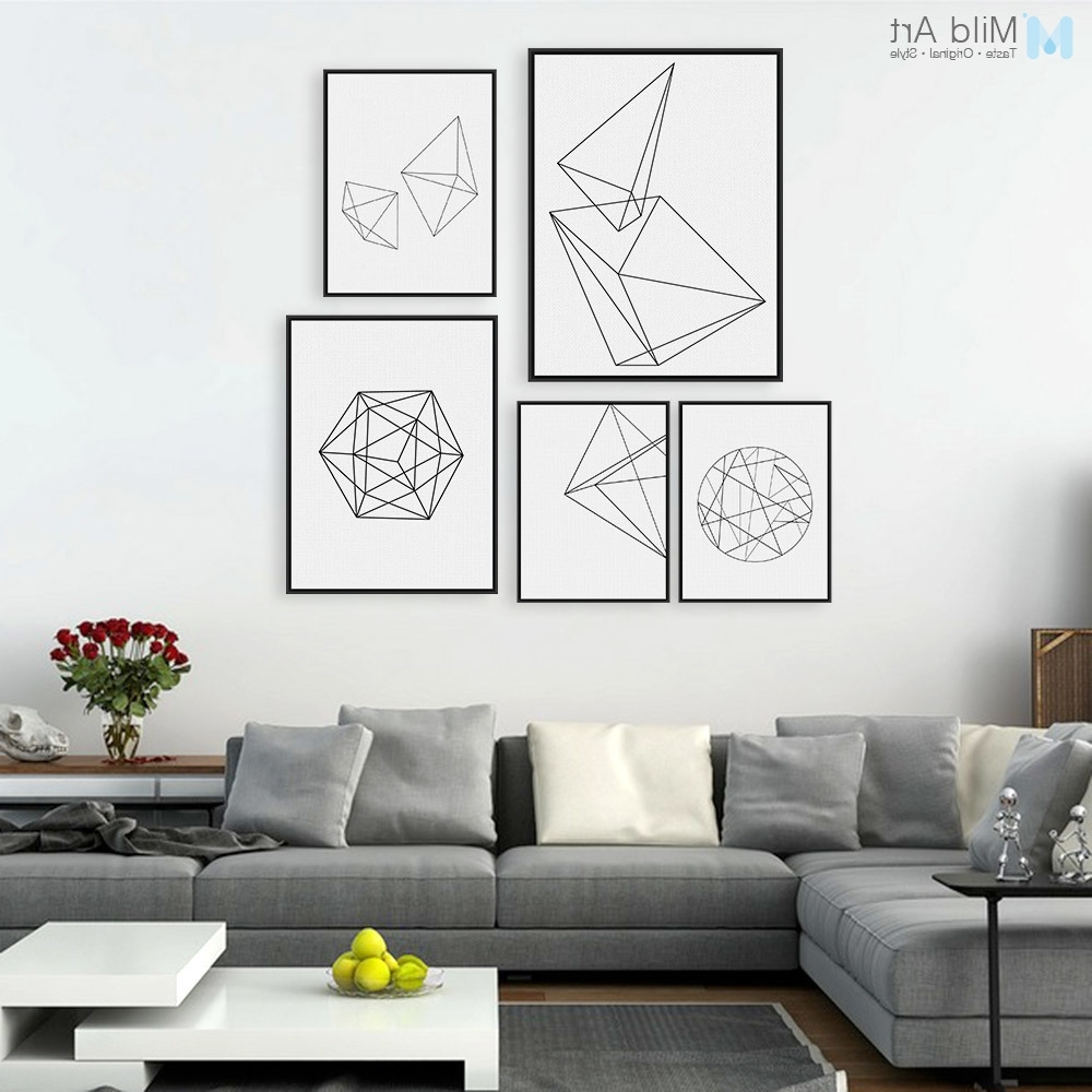 Minimalist Black White Geometric Line Shape Poster Print Modern Pertaining To Popular Abstract Wall Art Posters (View 11 of 15)