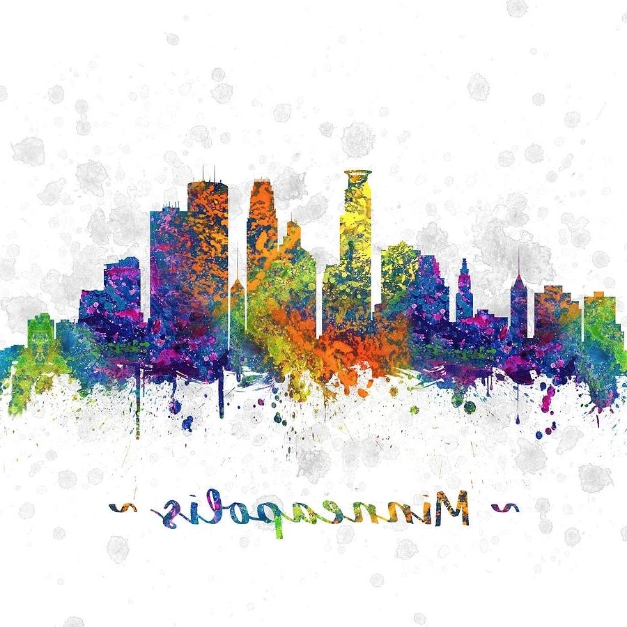 Minneapolis Minnesota Color 03sq Digital Artaged Pixel For Preferred Minneapolis Wall Art (View 11 of 15)