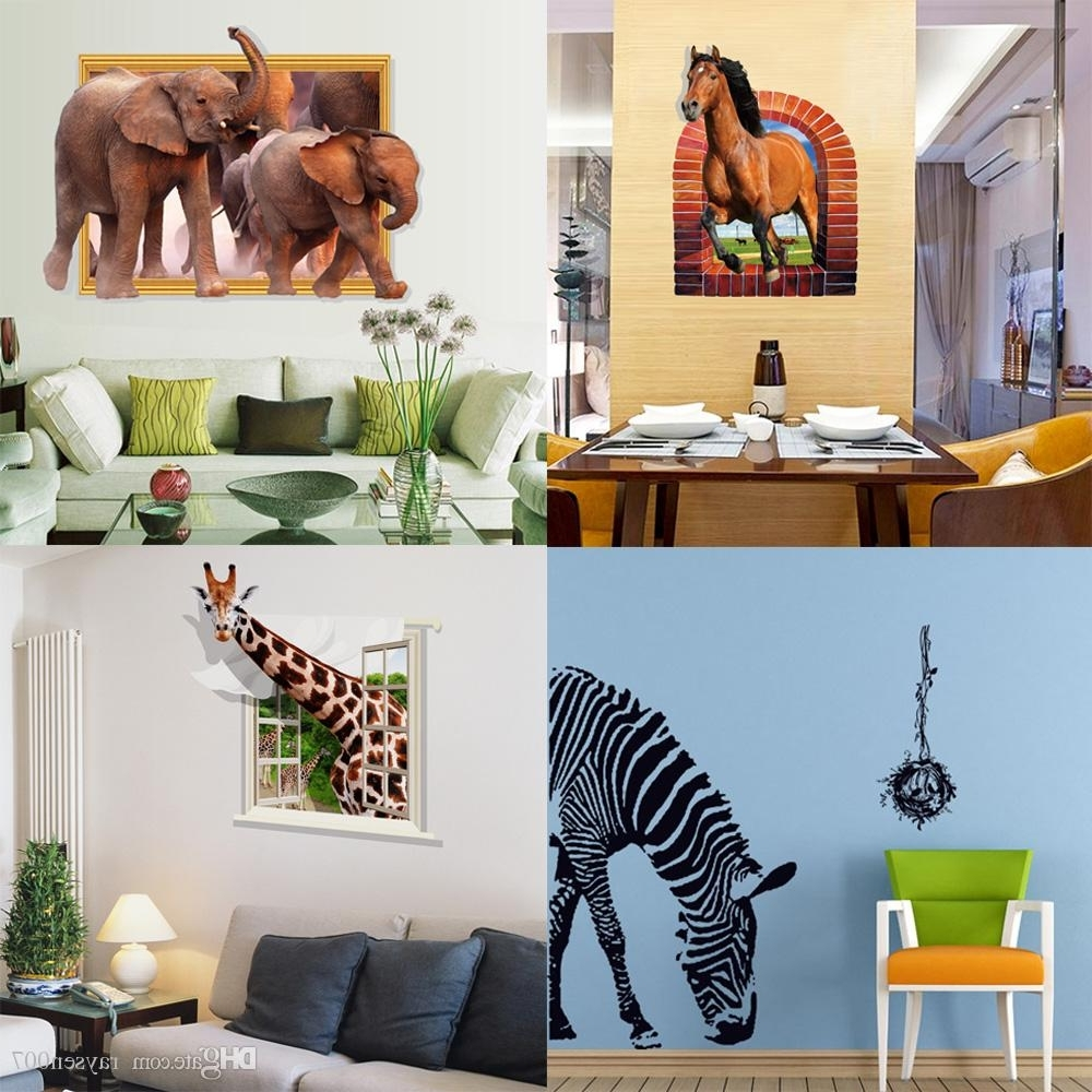 Mixed Style 3D Animal Wall Decals Stickers Zebra Horse Elephant Within Popular Zebra 3D Wall Art (View 7 of 15)