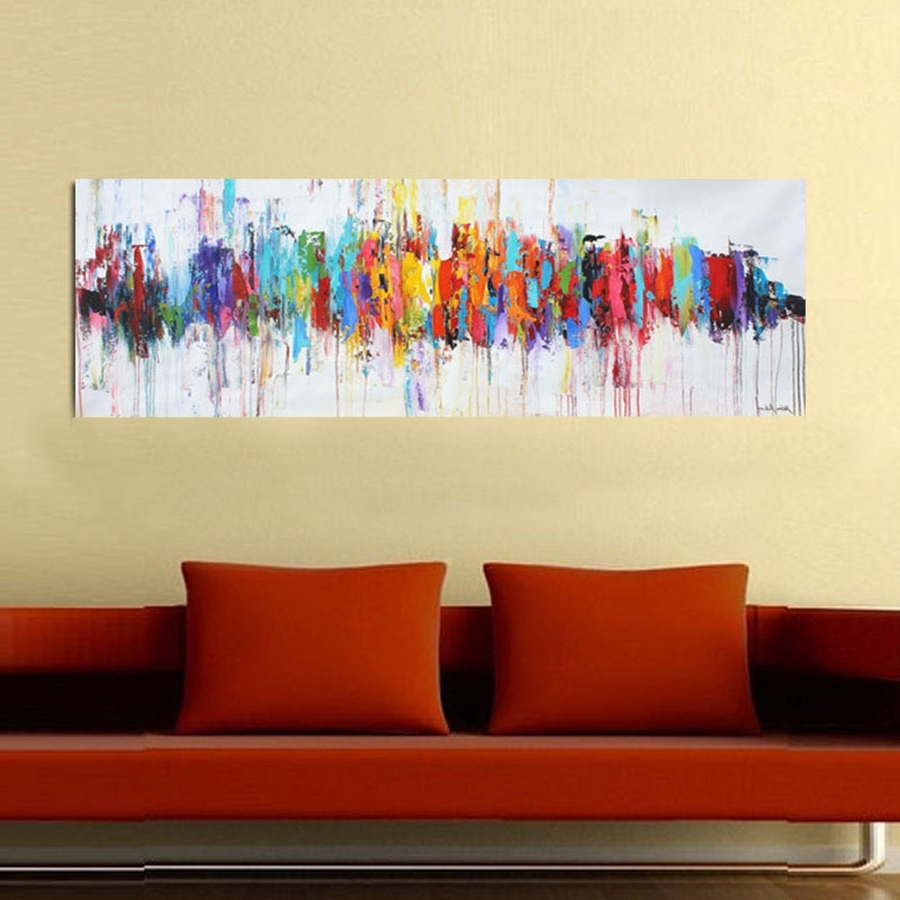 Modern Abstract Oil Paintings On Canvas Turquoise Wall Art With Regard To Favorite Abstract Wall Art For Bedroom (View 11 of 15)
