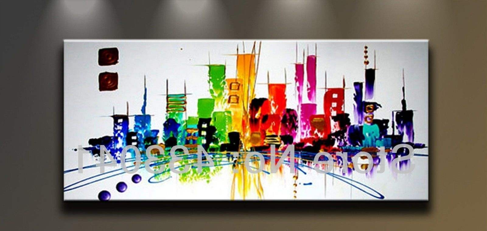 Modern Abstract Wall Art For Most Popular Hand Painted Large City Building Landscape Oil Painting Abstract (View 8 of 15)