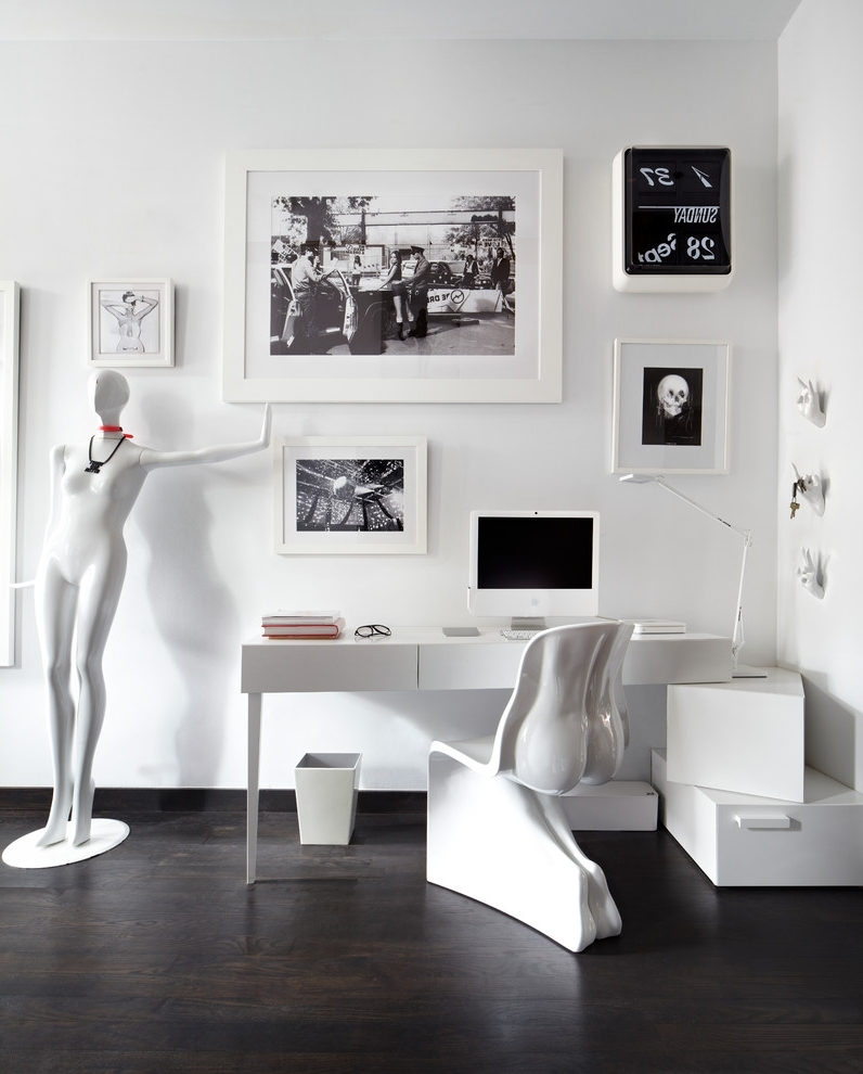 Modern Desk Chairs With Wall Art Home Office Eclectic And Eclectic Intended For Widely Used Mannequin Wall Art (View 12 of 15)
