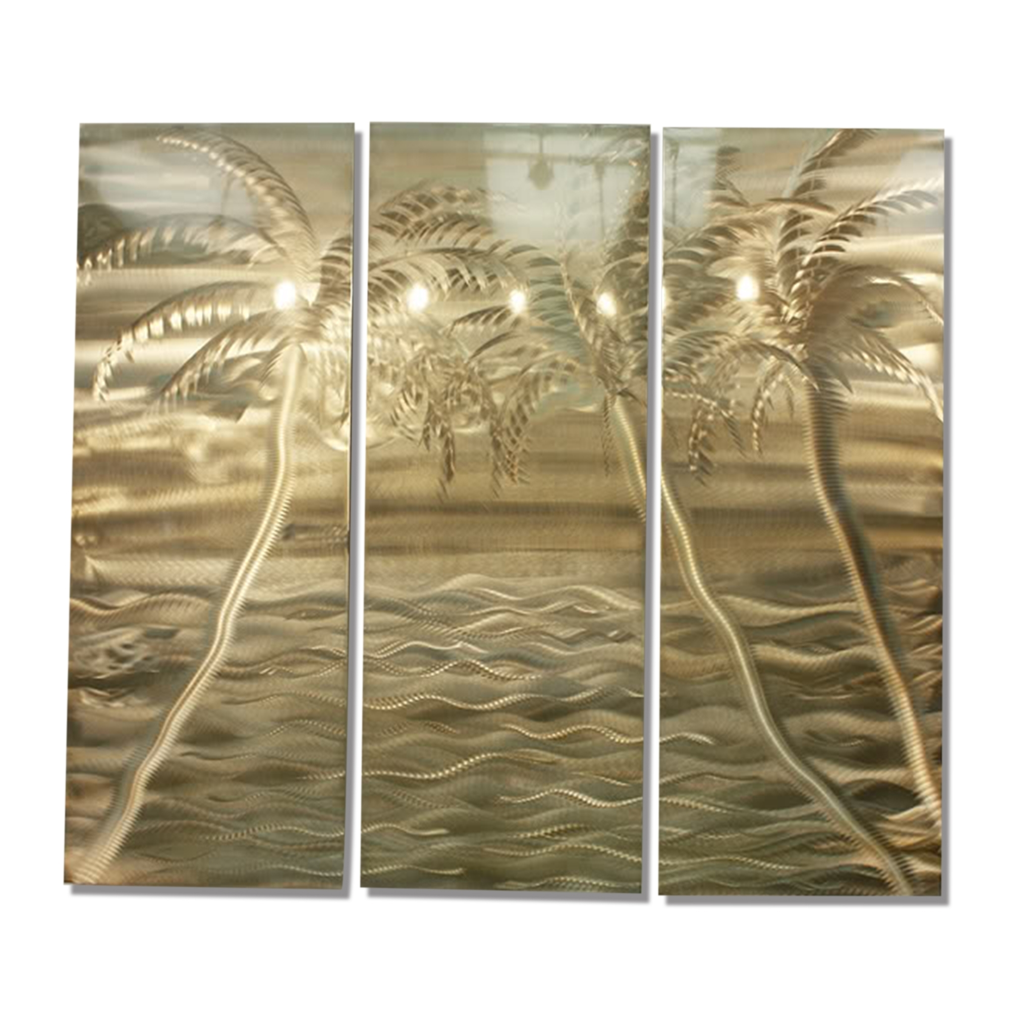 Modern Gold Tropical Abstract Metal Wall Art Office Painting Decor Within Famous Abstract Metal Wall Art Painting (View 9 of 15)