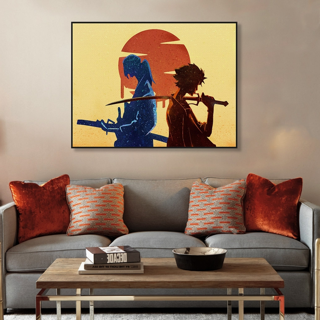 Modern Minimalist Watercolor Canvas A4 Art Print Poster Japanese With 2018 Samurai Wall Art (View 9 of 15)