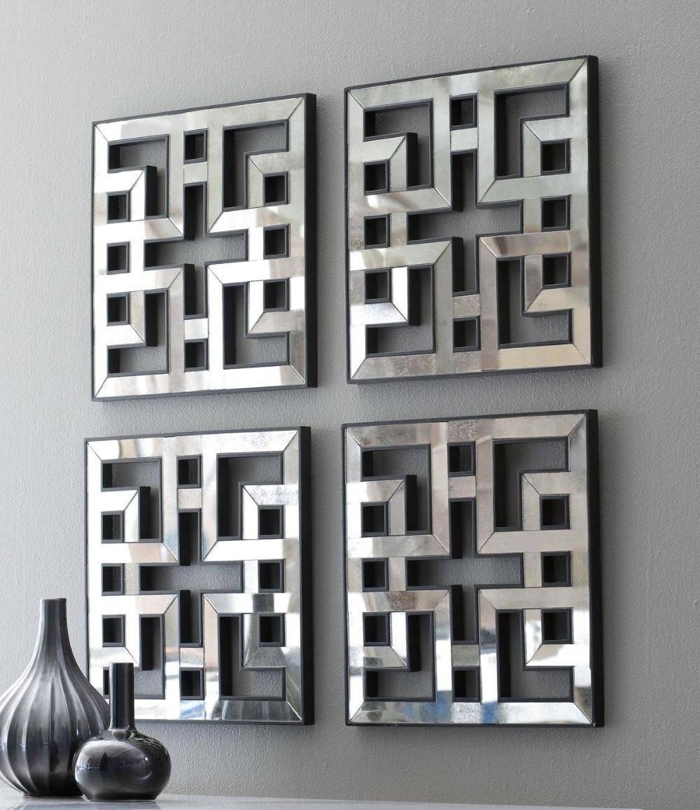 Modern Mirrored Wall Art Regarding Preferred Mirrored Wall Decor Fretwork Square Mirror Framed Wall Art D F (View 7 of 15)