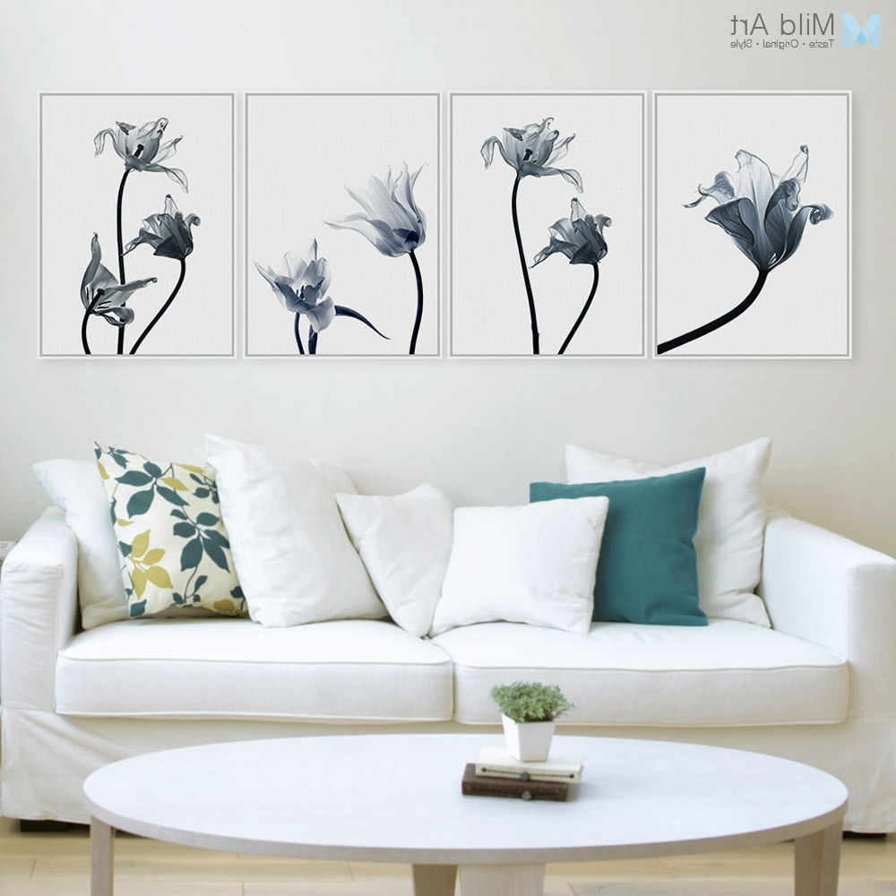 Modern Transparent Flower Floral Tulip Poster Print Nordic Style With Current Floral & Plant Wall Art (View 9 of 15)