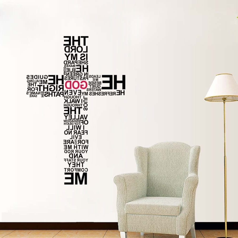 Modern Vinyl Wall Art In Widely Used Factory Price Cartoon Typography Christian God Cross Wall Art (View 8 of 15)