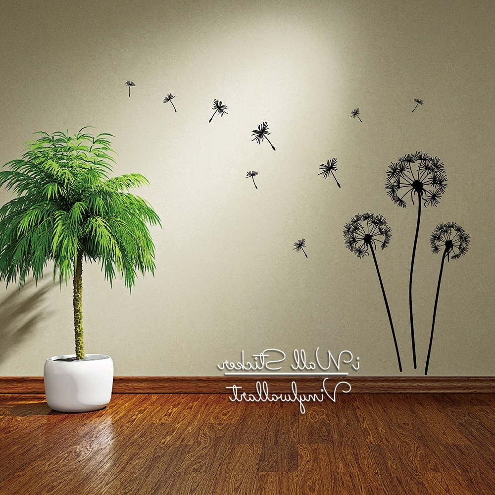 Modern Vinyl Wall Art With Current Dandelion Wall Sticker Dandelion Flower Wall Decal Diy Dandelion (View 9 of 15)