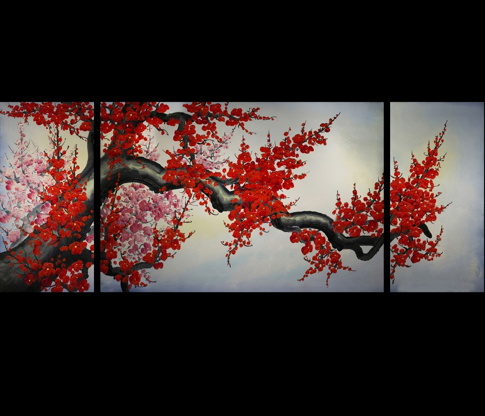 Modern Wall Art Décor Japanese Cherry Blossom Painting (View 15 of 15)
