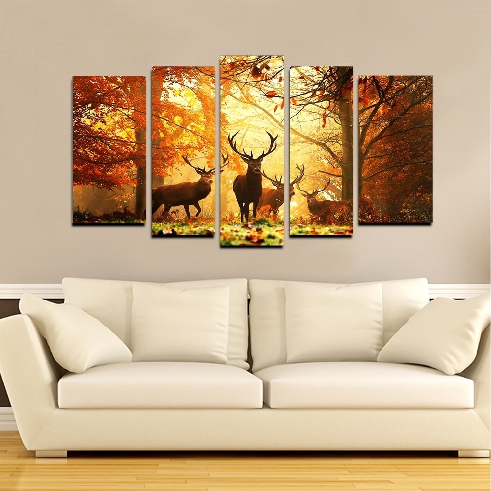 Modern Wall Art For Sale Pertaining To Well Liked 2018 Yhhp Elk In The Antumn Forest Picture Print Modern Wall Art (View 9 of 15)