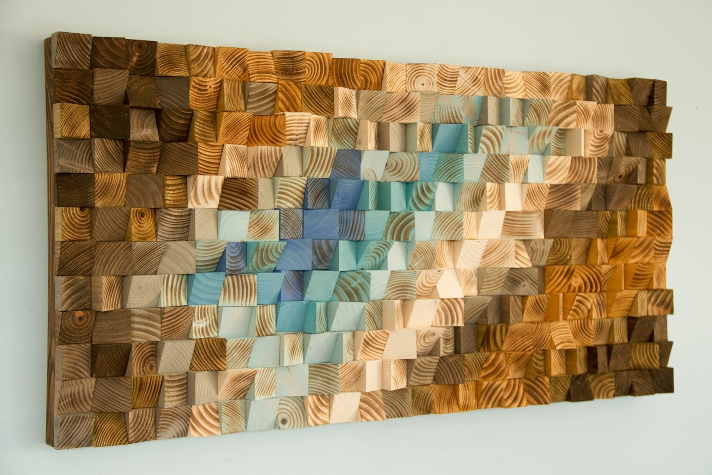 Modern Wood Wall Art, Wood Mosaic, Geometric Art, Wood Decor Throughout 2018 Wood Wall Art (View 9 of 15)