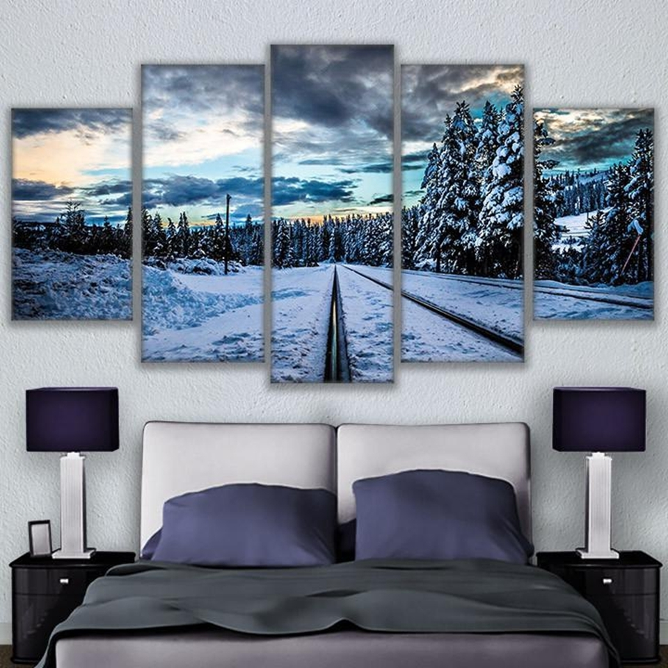 Modular Wall Art In Latest Canvas Painting Modular Wall Art Frame 5 Pieces Frozen Train (View 5 of 15)