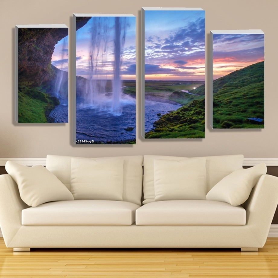 Modular Waterfall Wall Art Painting Iceland Sunset Contemporary Throughout Preferred Moving Waterfall Wall Art (View 7 of 15)