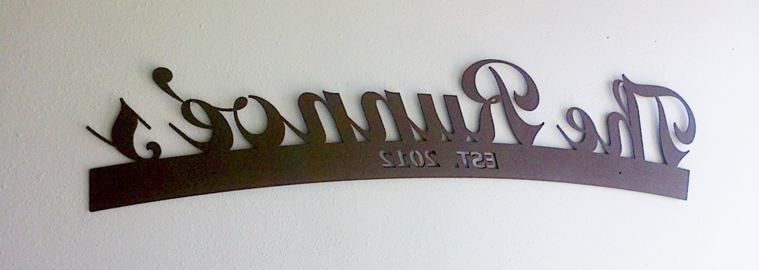 Monogram Metal Wall Art In Most Popular Wall Art Ideas Design : Anniversary Personalized Last Name Wall (View 8 of 15)