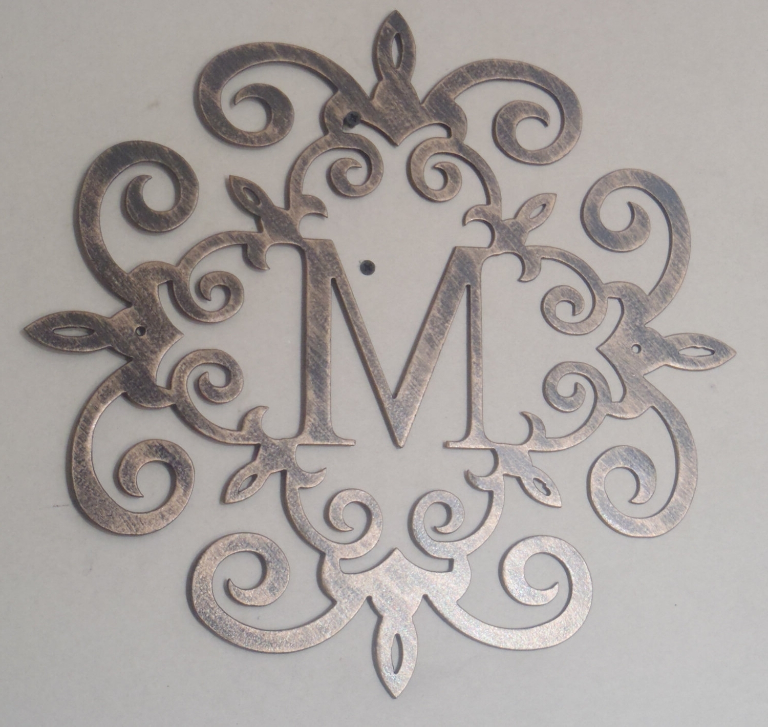 Monogram Metal Wall Art With Well Liked Family Initial, Monogram, Antique Look, Any Letter Available (View 10 of 15)