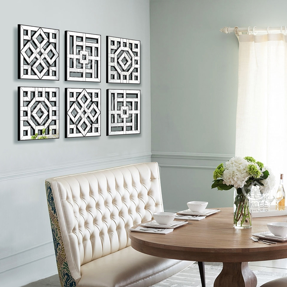 Morden Wall Mirror Square Mirror Mirrored Wall Decor Fretwork Inside Well Known Fretwork Wall Art (View 9 of 15)