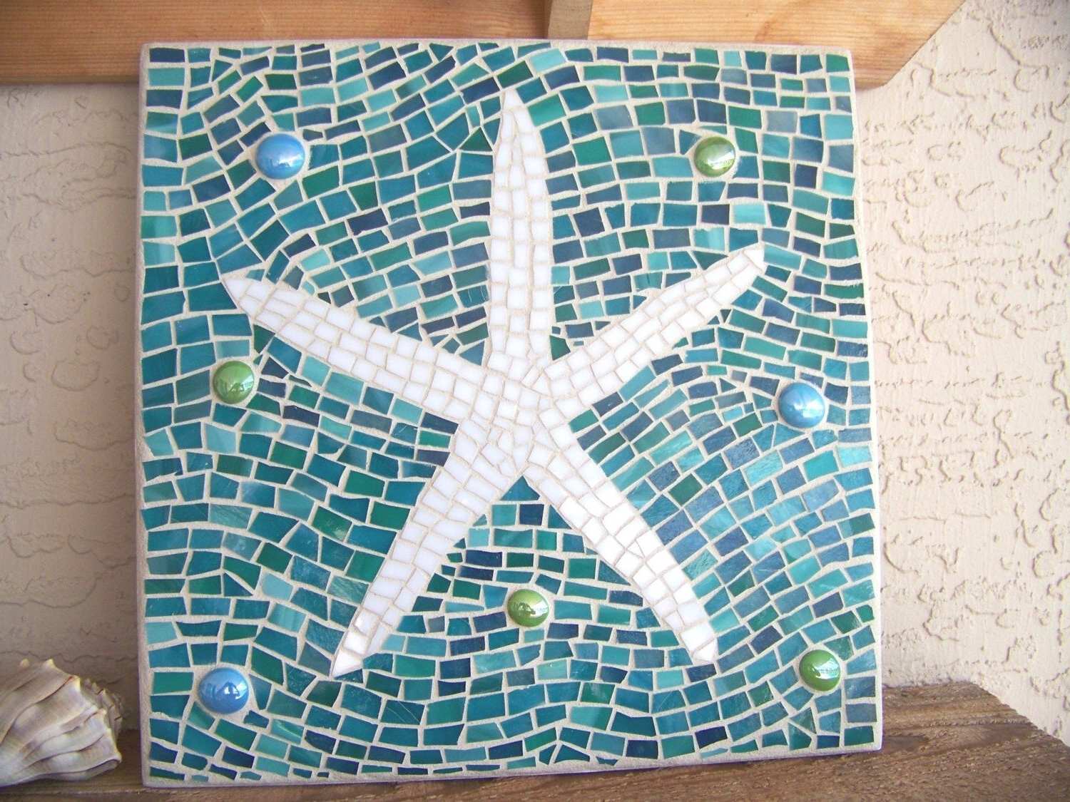 Mosaic Starfish Wall Art – Starfish Decor – Wall Hanging – Stained In Well Known Large Starfish Wall Decors (View 9 of 15)