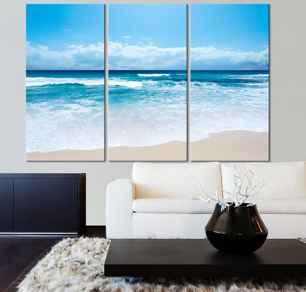 Most Current 3 Piece Beach Wall Art Pertaining To Large Wall Art Ocean Beach And Wave Canvas Print – Seascape (View 10 of 15)