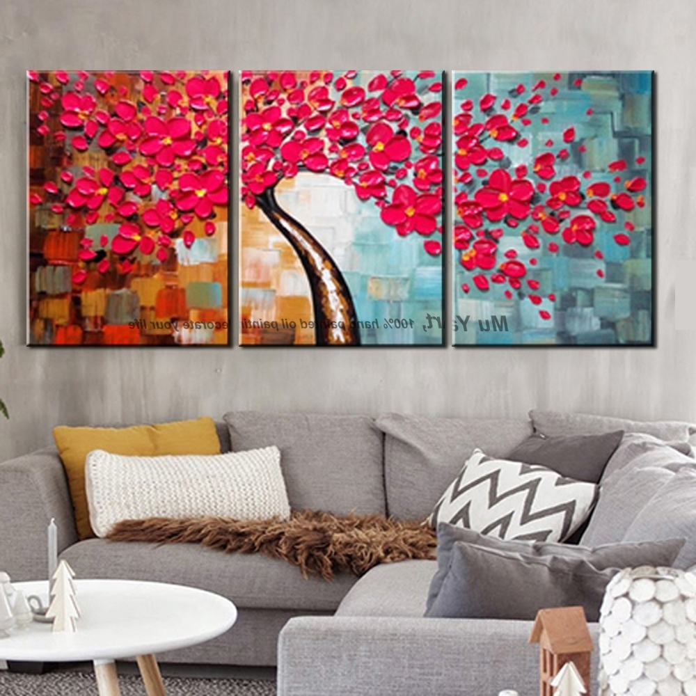 2019 Latest Red And Turquoise Wall Art