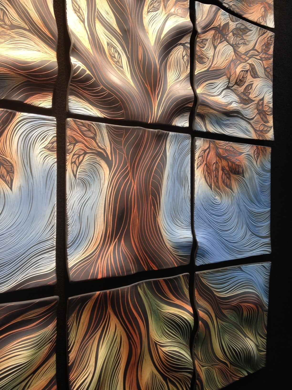 Most Current 3D Glass Wall Art In Natalie Blake Studios' Hand Carved 3D Ceramic Tile Wall Art (View 9 of 15)
