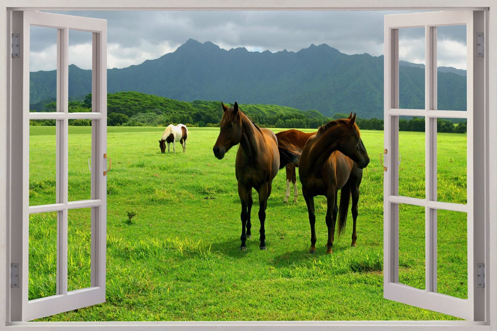 Most Current 3D Horse Wall Art In Huge 3D Window View Wild Horses Grazing Wall Sticker Mural Art (View 12 of 15)