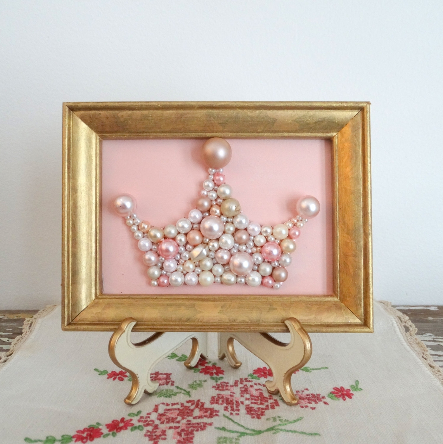 Most Current 3D Princess Crown Wall Art Decor Within Pink And Gold Nursery Art – Princess Crown – Pearl Crown Mosaic (View 10 of 15)