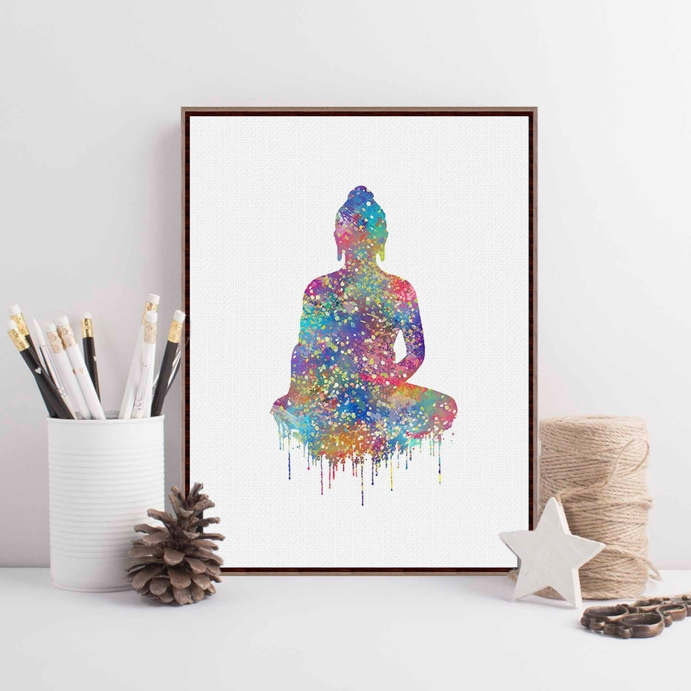 Most Current Abstract Wall Art Posters Inside Original Watercolor Buddha Portrait Zen A4 Large Art Prints Poster (View 12 of 15)