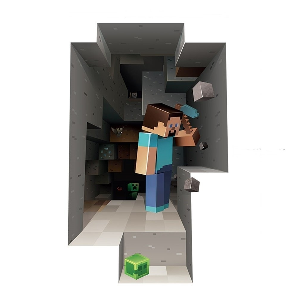 Most Current Amazon: 3D Minecraft Style Wall Decal Poster Steve Sticker Inside Minecraft 3D Wall Art (View 7 of 15)