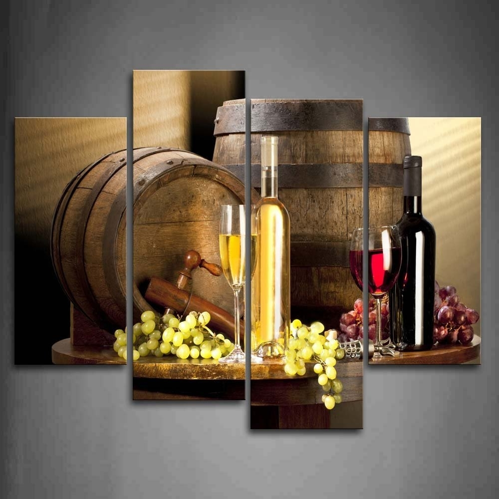 Most Current Amazon: Various Wine With Grape Wall Art For Kitchen Painting Intended For Grape Wall Art (View 10 of 15)