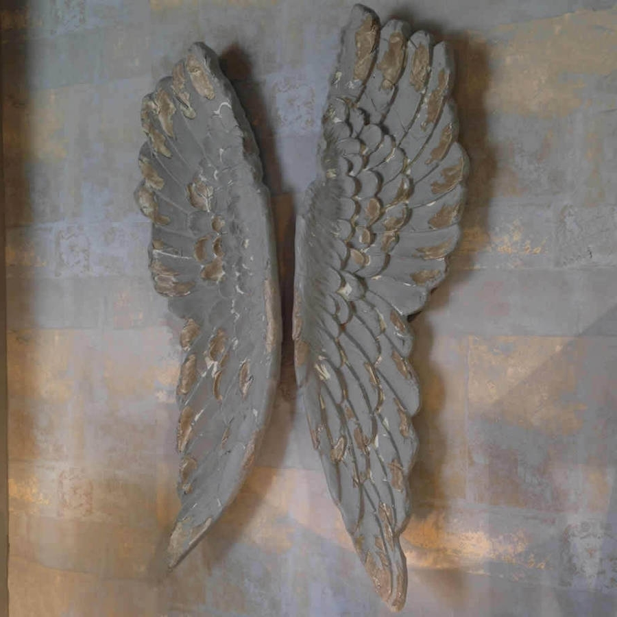 Most Current Angel Wings Large Antiqued Grey Silver Or Gold Wall Artcowshed Pertaining To Angel Wings Wall Art (View 11 of 15)