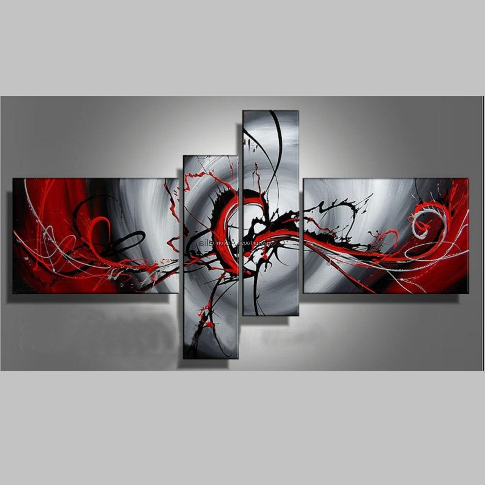 Most Current Australian Abstract Wall Art In 4 Piece Set  Colour Of Passion Modern Abstract – Canvas Art Australia (View 7 of 15)