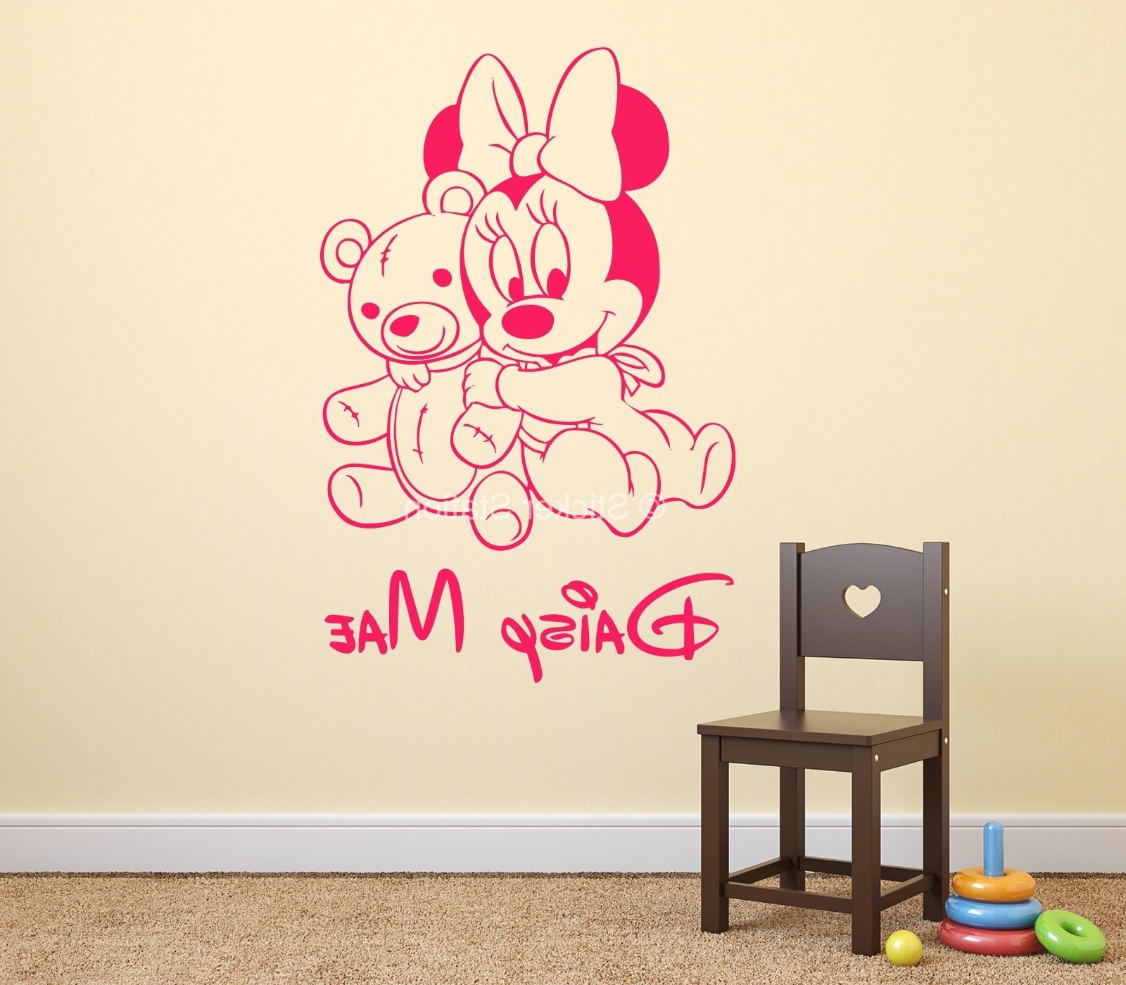 Most Current Baby Minnie Mouse & Teddy Bear Personalised Name Wall Art Sticker In Baby Name Wall Art (View 11 of 15)