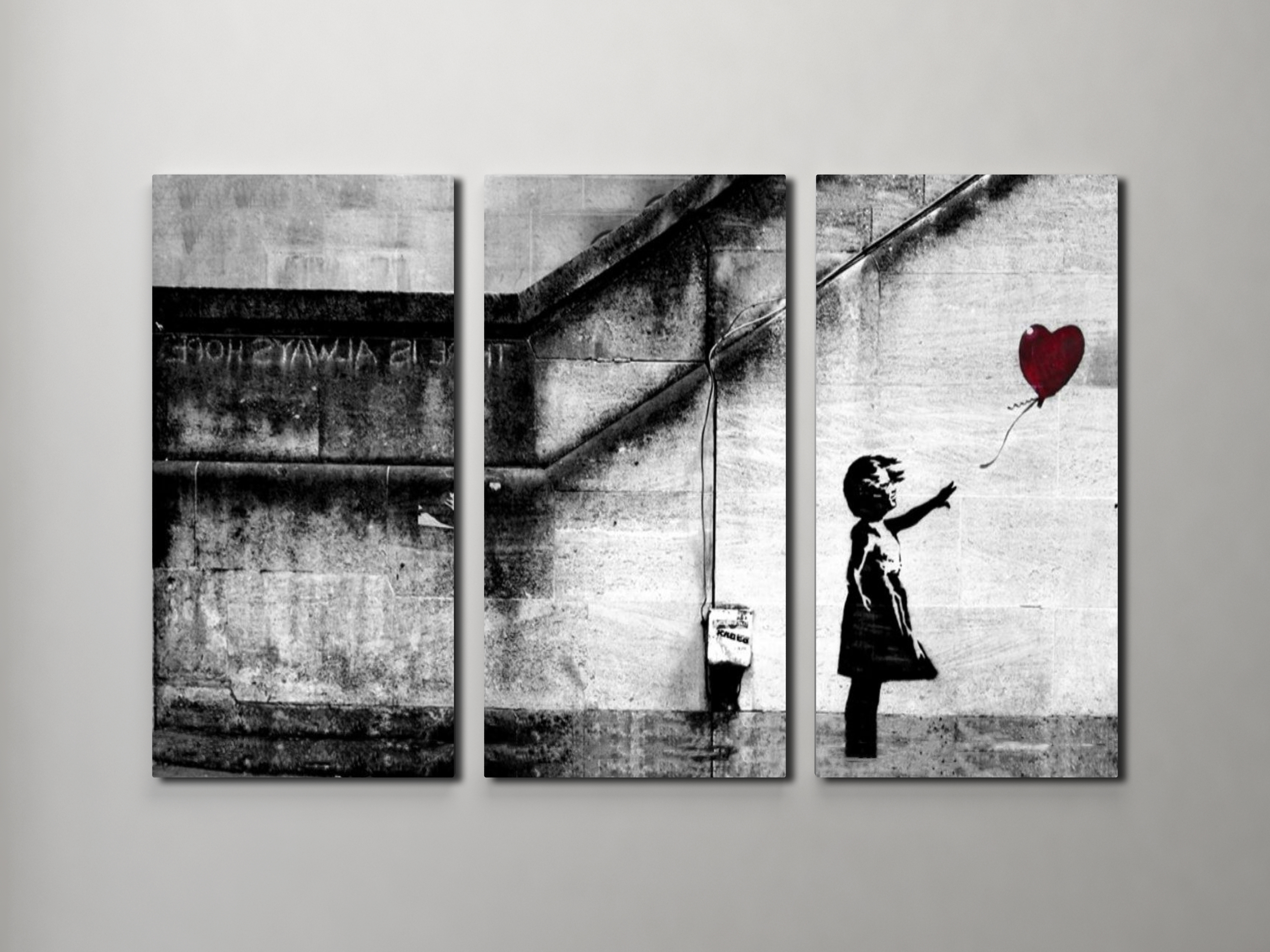 Most Current Banksy Girl With Balloon Triptych Canvas Wall Art With  Triptych Art For Sale (