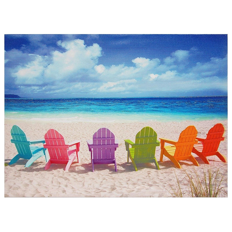 Most Current Beach Wall Art Regarding Amazon: Oriental Furniture Beach Chairs Canvas Wall Art (View 13 of 15)