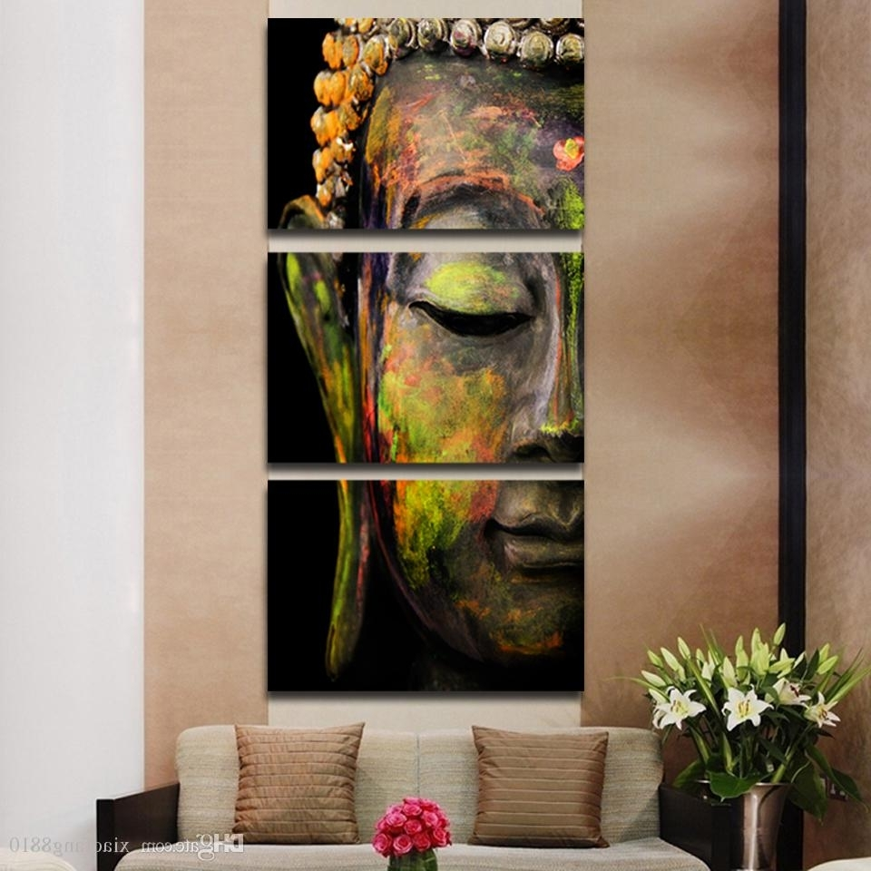 Most Current Buddha Oil Painting Wall Art Paintings Picture Paiting Canvas Regarding Three Piece Canvas Wall Art (View 7 of 15)