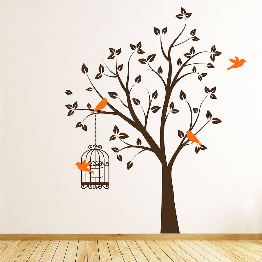 Most Current Ceramic Bird Wall Art Intended For Wall Art Designs: Bird Wall Art Tree With Bird Cage Wall Stickers (View 11 of 15)