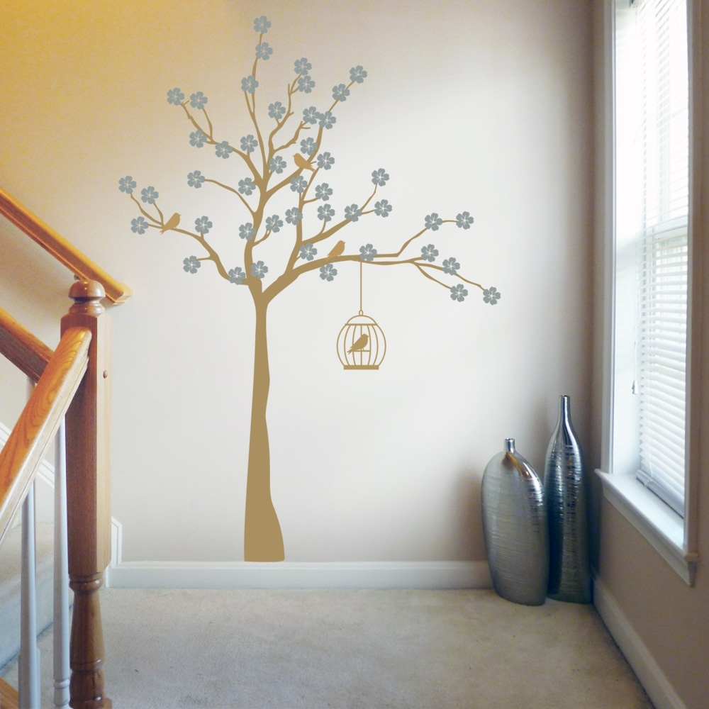 Most Current Cherry Blossom Tree With Birdcage Wall Stickers & Decals Within Gold Wall Art Stickers (View 8 of 15)