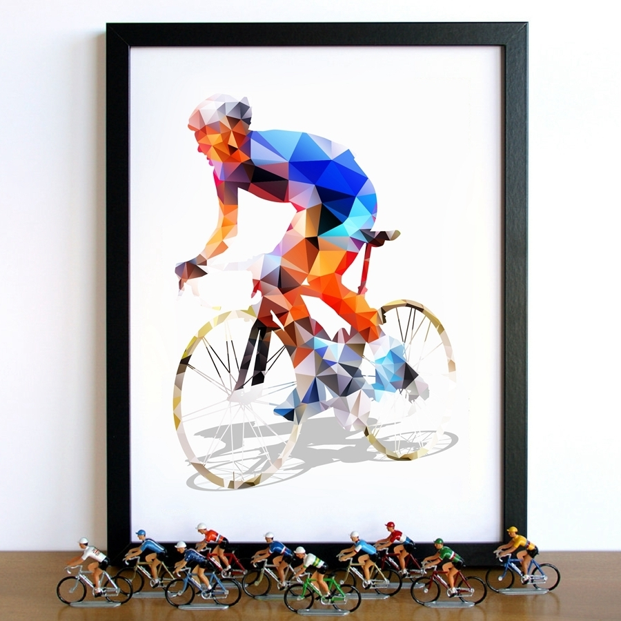 Most Current Cycling Wall Art Within Abstract Geometrical Polygonal Cyclist Canvas Art Print Wall (View 12 of 15)