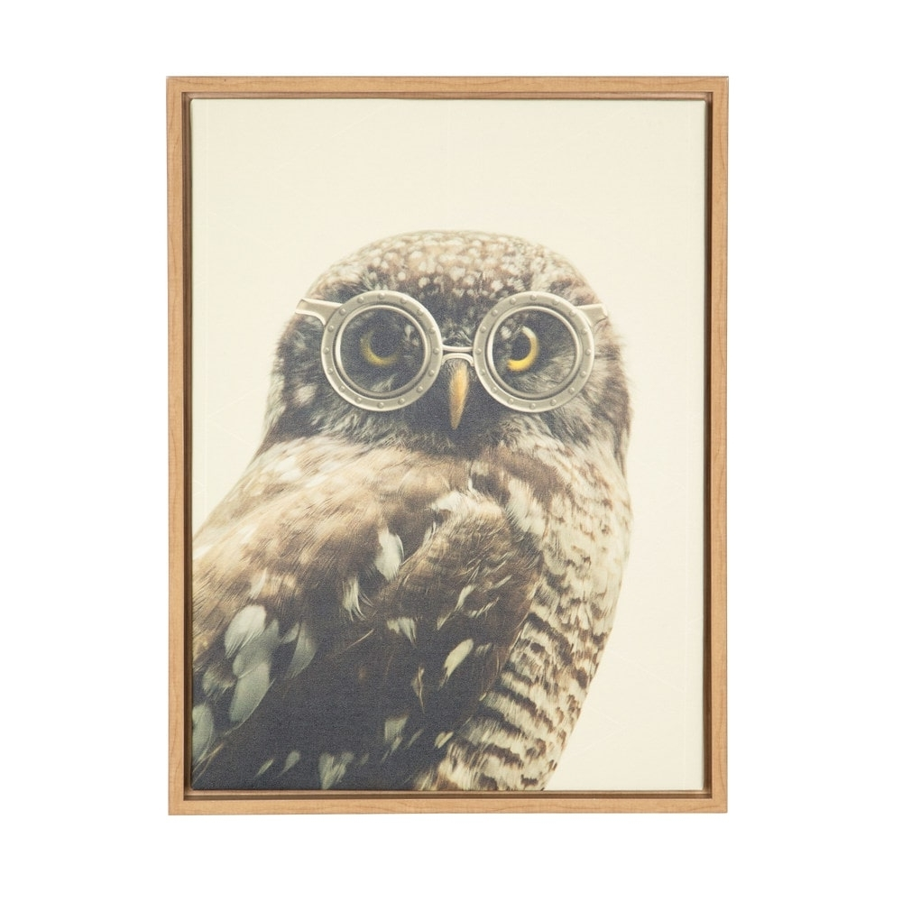 Most Current Designovation Sylvie Owl With Glasses Natural Framed Canvas Wall Within Owl Framed Wall Art (View 11 of 15)