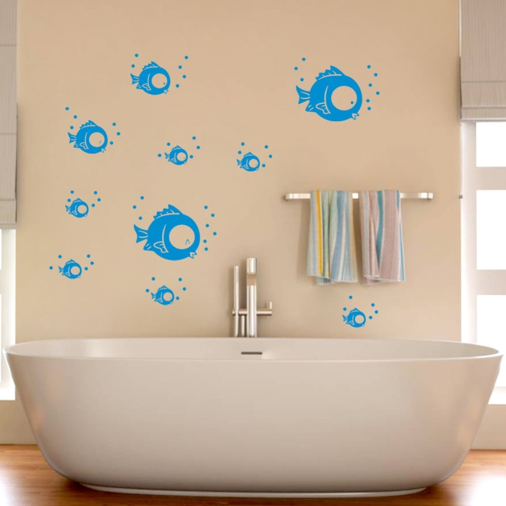 Most Current Eco Friendly Wall Stickers Bluie Small Fish Bubble Wall Stickers Intended For Fish Decals For Bathroom (View 11 of 15)