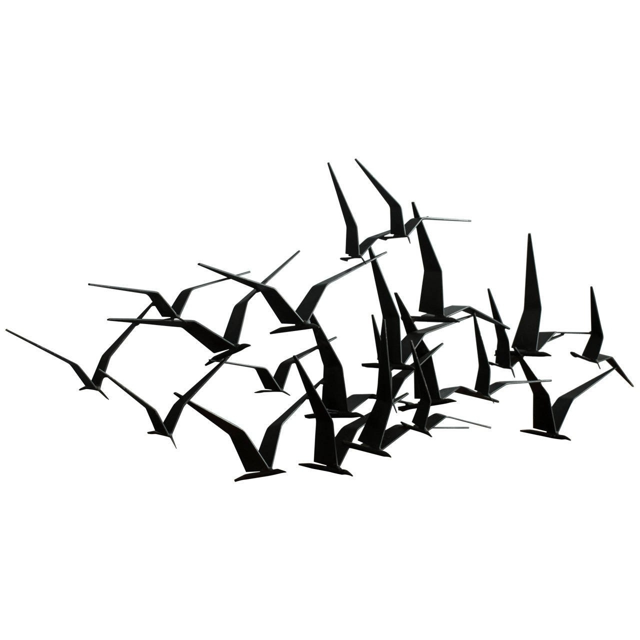 Most Current Flying Birds Metal Wall Art For Vintage Mid Century 'birds In Flight' Metal Wall Sculpture Signed (View 14 of 15)