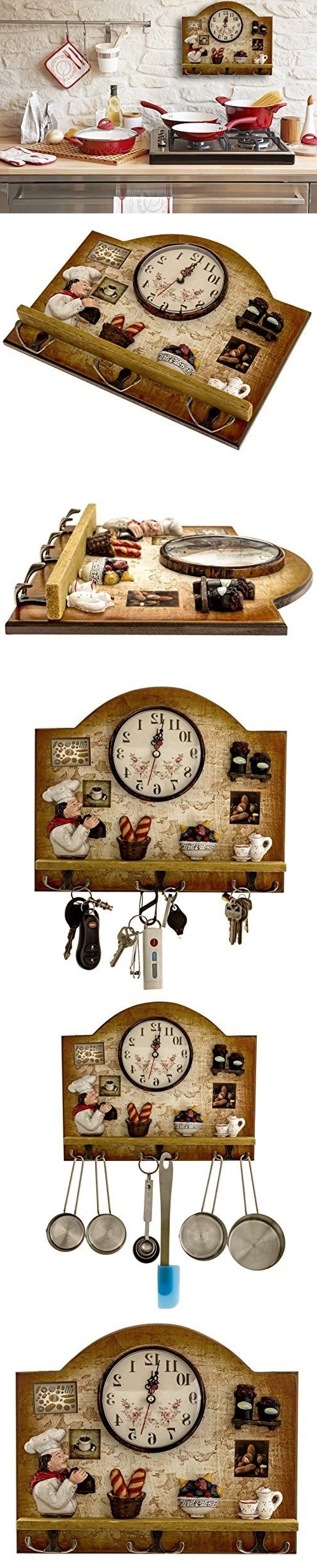 Most Current Italian Ceramic Wall Clock Decors With Regard To Heartful Home Fat Italian Chef Kitchen Decor Clock With Hooks (View 4 of 15)