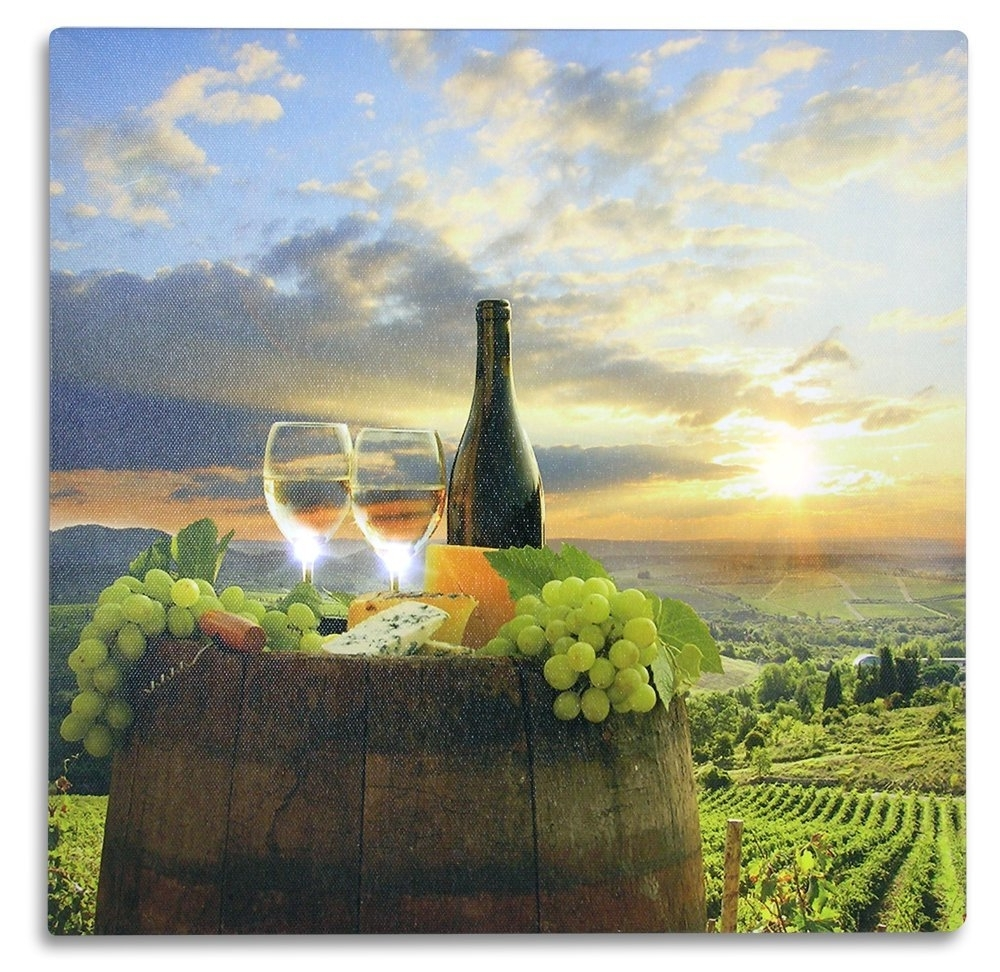 Most Current Italian Wine Wall Art Regarding Amazon: Tuscan Wall Art – Led Canvas Print With A Vineyard (View 10 of 15)
