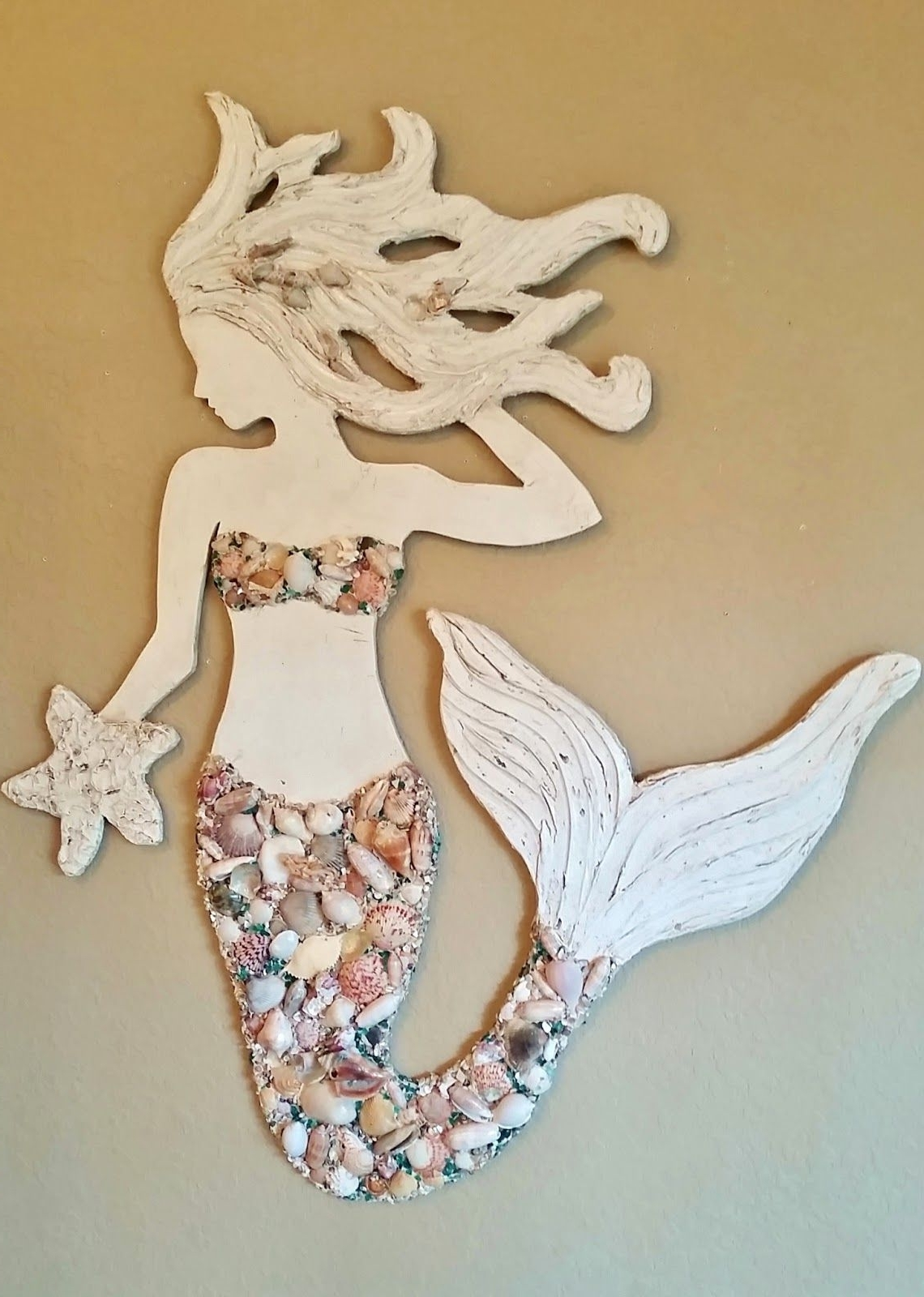 Most Current Mermaid Wall Art New Design, Wood Mermaid Vertical Style Beach  Art In Wooden