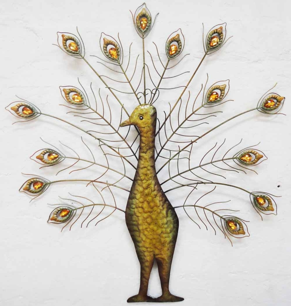 Most Current Metal Peacock Wall Art Pertaining To Metal Wall Art – Jewel Peacock Fan Spray (View 8 of 15)