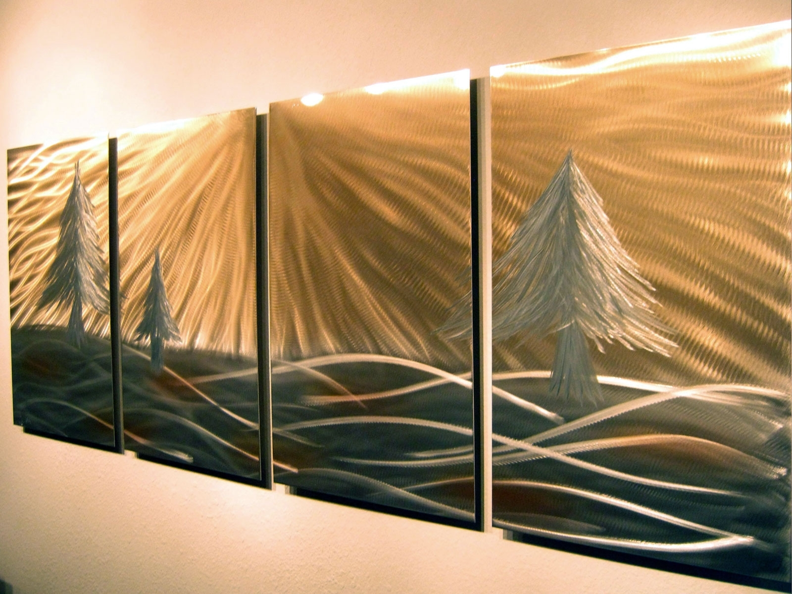 Most Current Metal Pine Tree Wall Art Inside 3 Pine Trees – Abstract Metal Wall Art Contemporary Modern Decor (View 12 of 15)